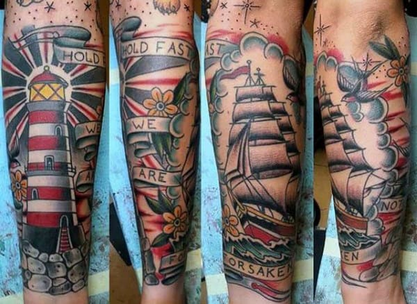 Mens Sleeves Splendid Sparrow Light House Tattoo