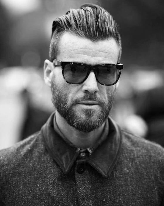 Mens Slicked Back Undercut Haircut With Beard