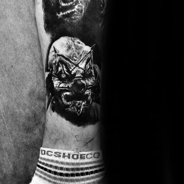 Mens Slipknot Lower Leg Tattoo Ideas
