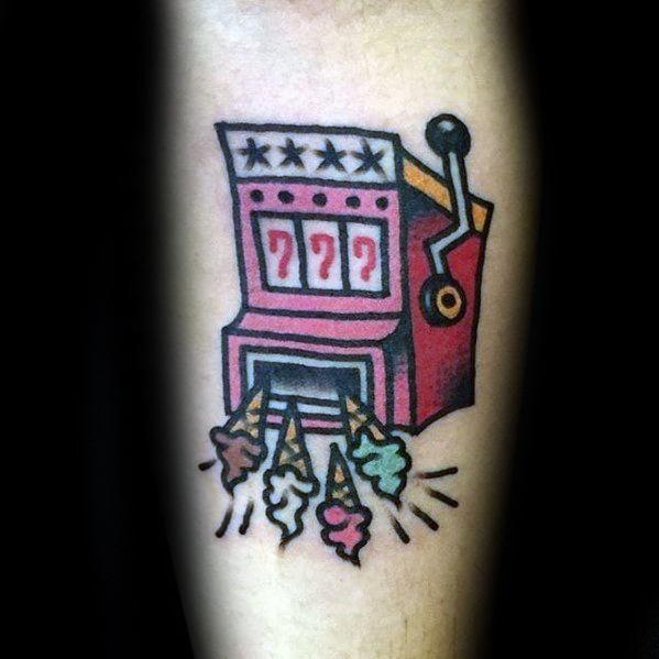 Mens Slot Machine Ice Cream Themed Arm Tattoo Design Ideas
