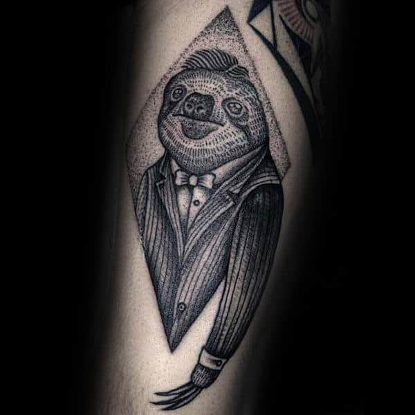 Mens Sloth In A Business Suit Dotwork Tattoo Designs