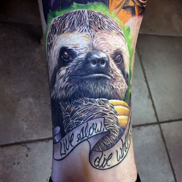 Mens Sloth Lower Leg Tattoo Designs