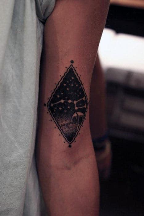 Mens Small Arm Big Dipper Black Ink Tattoo Design