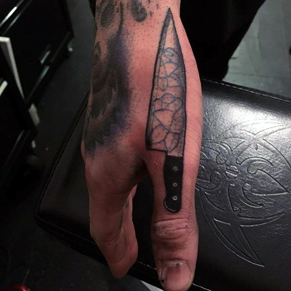Mens Small Chefs Knife Hand Tattoo
