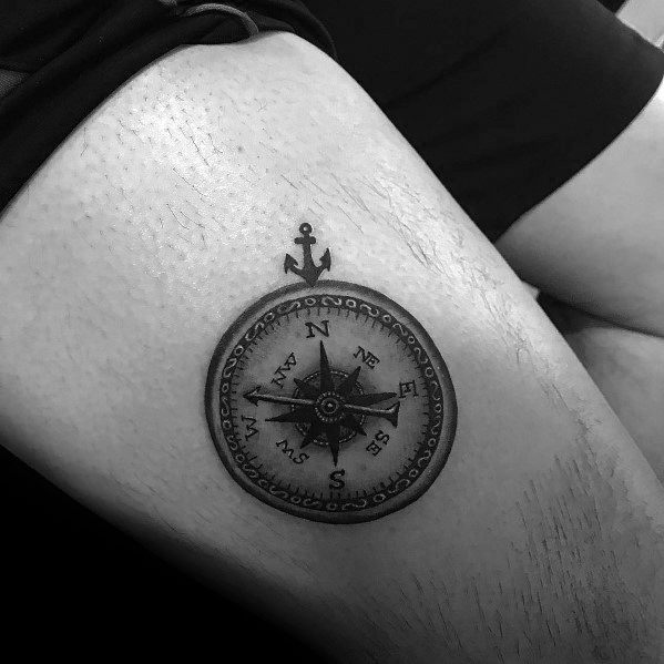 Mens Small Compass Tattoo Designs On Thigh