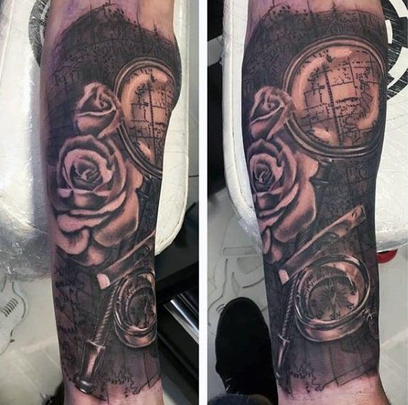 Men's Small Compass Tattoo