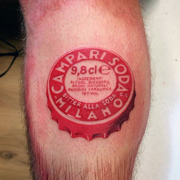 Mens Small Detailed Bottle Cap Leg Calf Tattoo