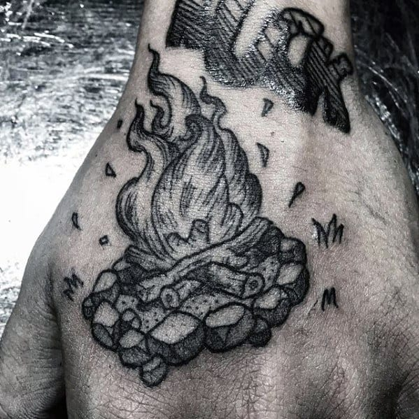 Mens Small Detailed Campfire Hand Tattoo