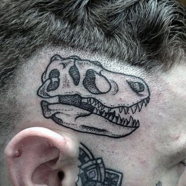 Mens Small Dinosaur Skull Tattoo Near Ear