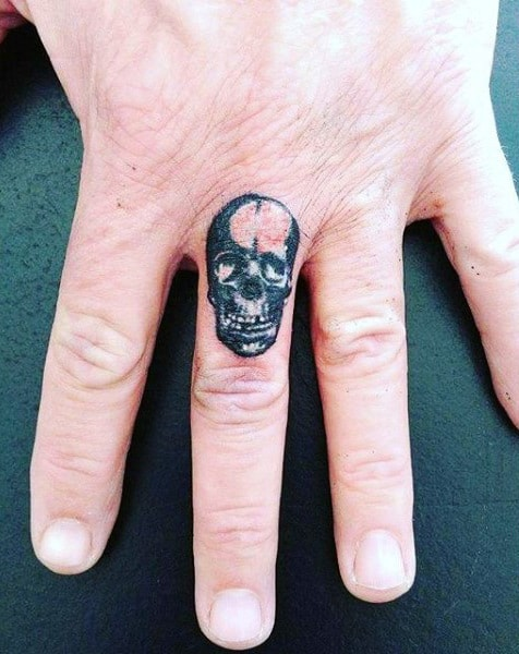 Mens Small Finger Tattoos Of Skull