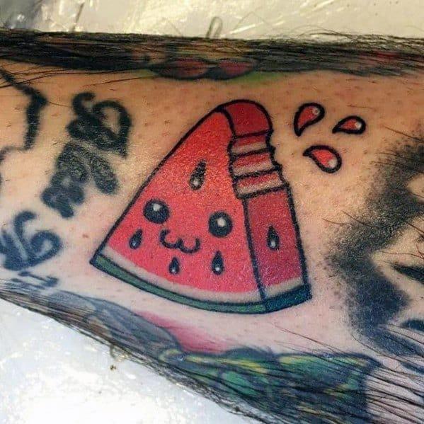 Mens Small Forearm Happy Watermelon Tattoo Design Inspiration