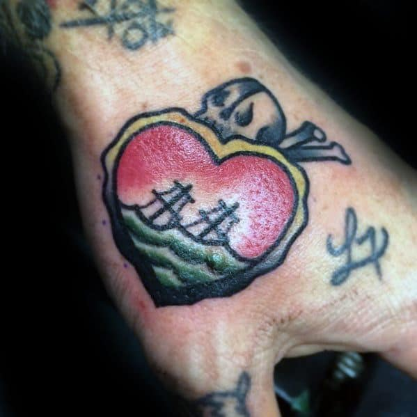 Mens Small Hand Tattoo Ideas With Heart And Sinking Ship Design