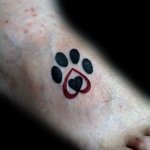 Mens Small Heart Dog Paw Foot Tattoos
