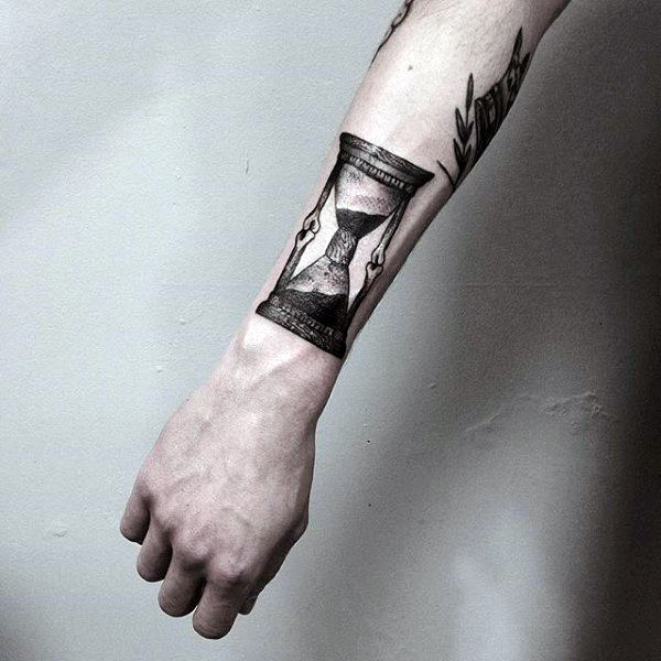 Mens Small Hourglass Tattoo On Wrist