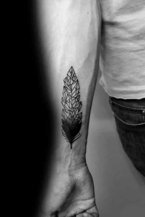 Mens Small Inner Forearm Geometric Feather Tattoo Design Ideas