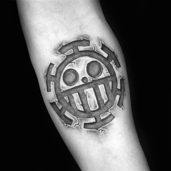Mens Small Inner Forearm Tattoo With One Piece 3d Stone Design