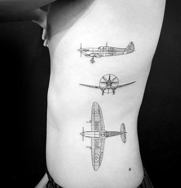 Mens Small Manly Flying Airplane Diagram Tattoos