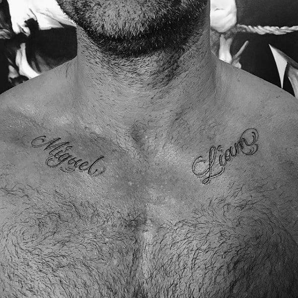 Mens Small Name Collar Bone Tattoo Ideas