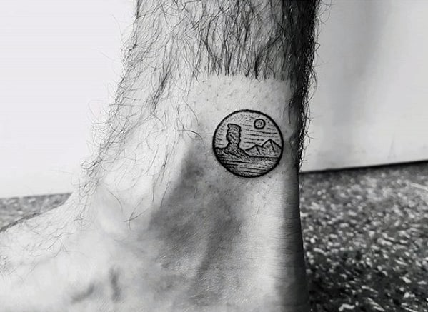 Mens Small Nature Desert Mountains Ankle Tattoo Designs