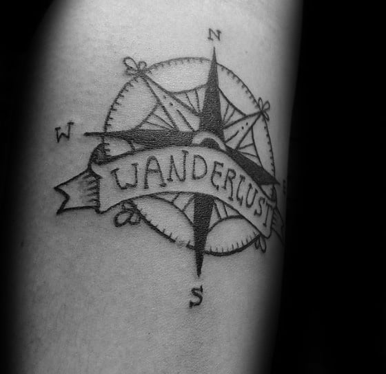 Mens Small Retro Wanderlust Compass Tattoo Design Ideas On Forearm