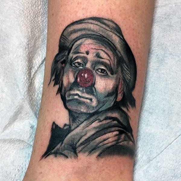 Mens Small Sad Clown Forearm Tattoos