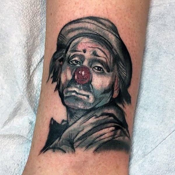Mens Small Sad Clown Forearm Tattoos