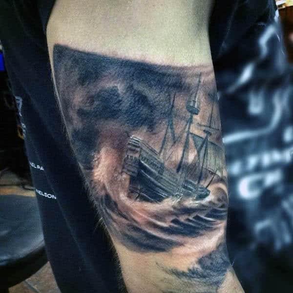 Mens Small Sailboat Tattoo