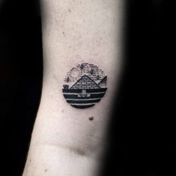 Mens Small Simple Circle Pyramid Tattoo