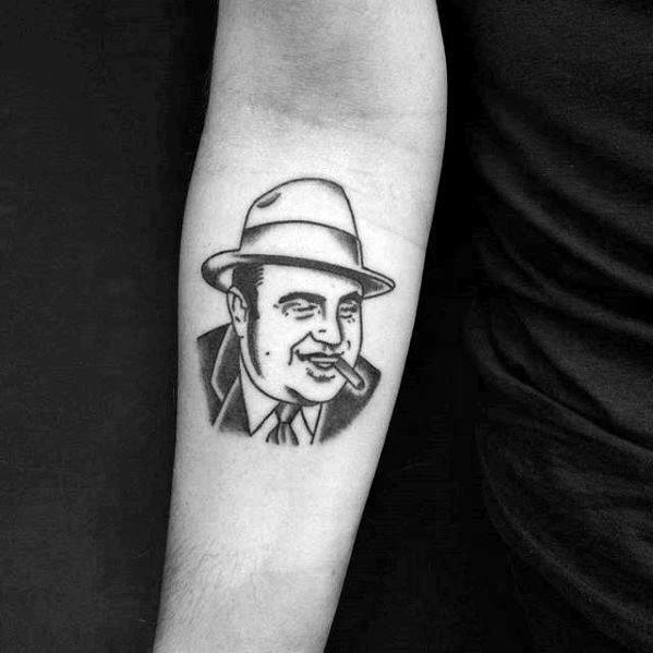 Mens Small Simple Inner Forearm Tattoo With Al Capone Design