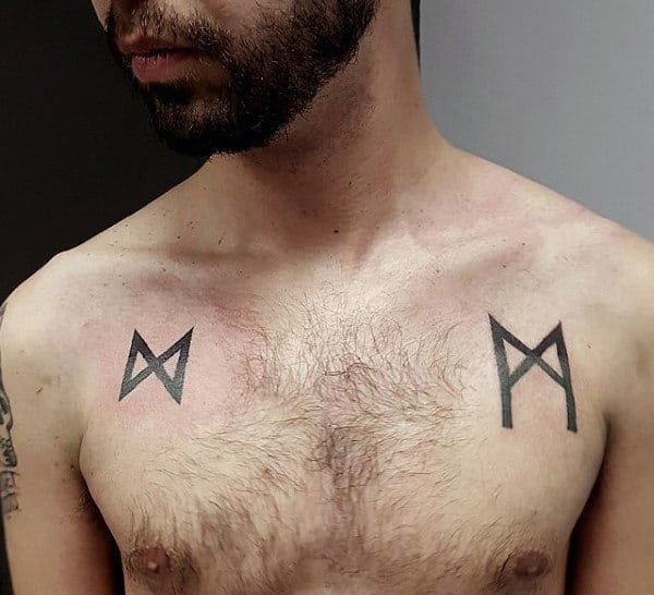 Mens Small Simple Rune Chest Tattoos
