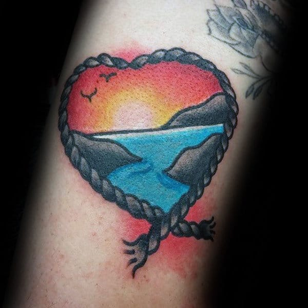 Mens Small Sunset Rope Heart Traditional Arm Tattoos