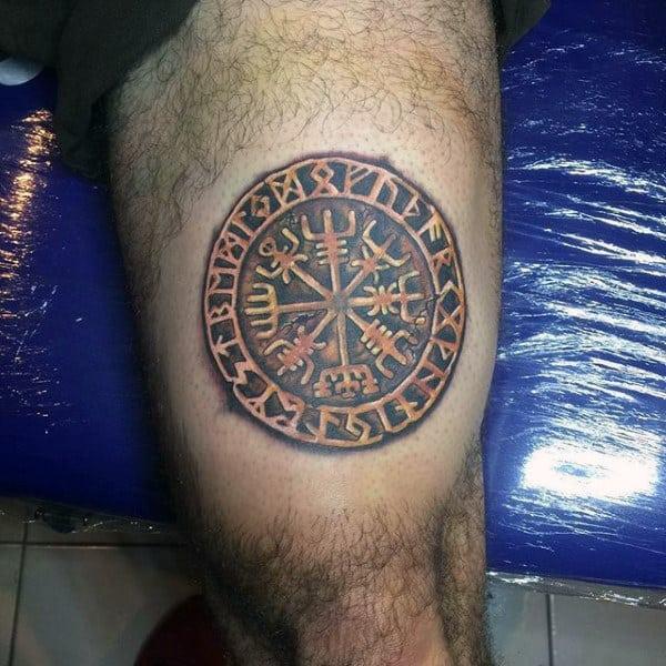 Mens Small Thigh Rune Stone Tattoo Designs