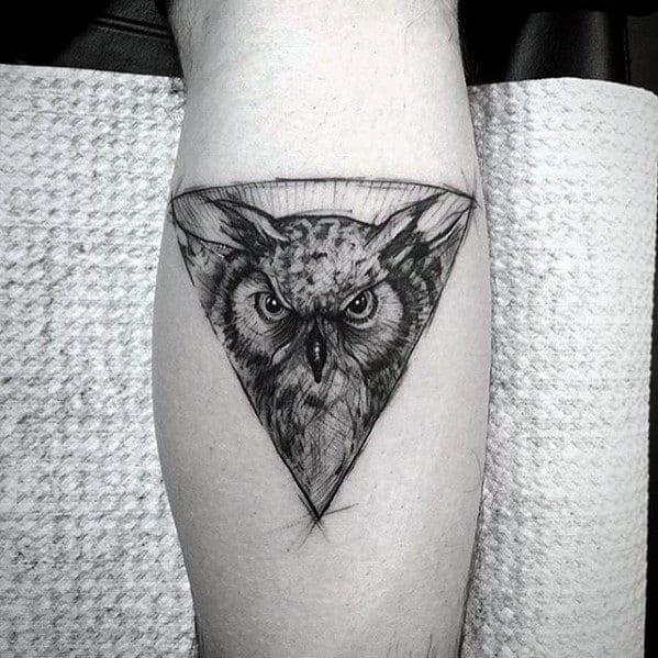 Mens Small Triangle Geometric Owl Leg Calf Tattoo