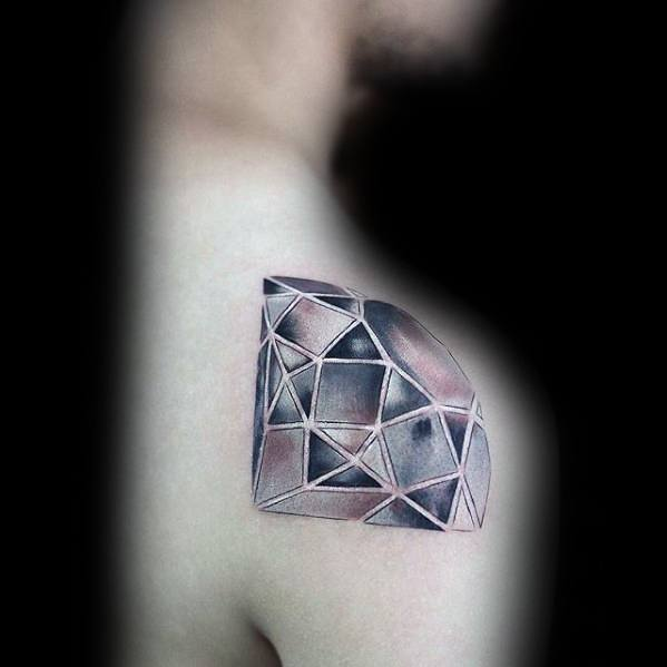 Mens Small Unique Shoulder Diamond 3d Tattoo Designs