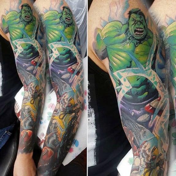 Mens Smashing Hulk Marvel Tattoo Sleeve Ideas