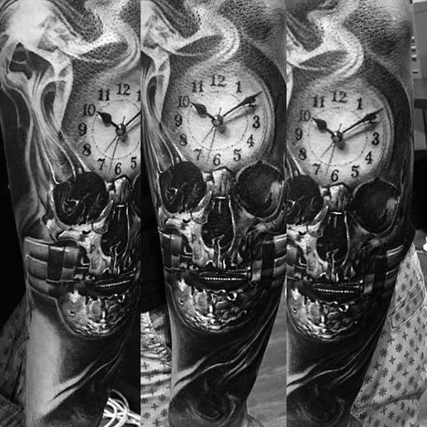 Men's Smoke Tattoos With Clock