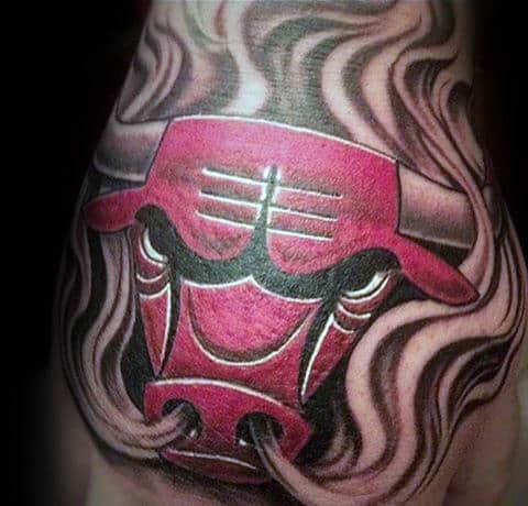 Mens Smoking Chicago Bulls Hand Tattoo