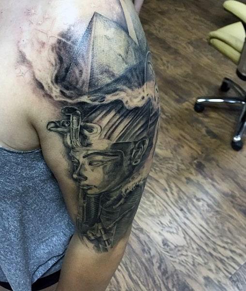 Men's Smoking Gun Tattoos On Arm