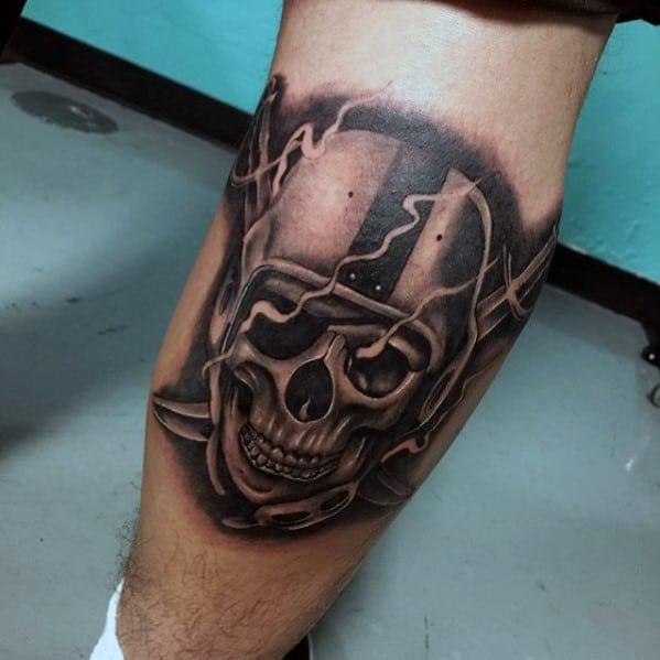 Mens Smoking Oakland Raiders Skull Tattoo On Leg Calf