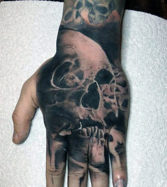 Mens Smoking Skull Hand Tattoos