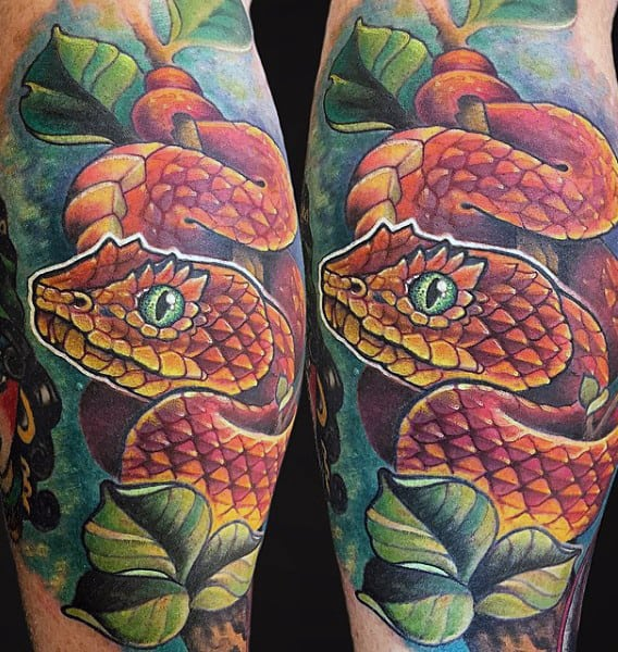 Tropical Men's Snake And Dagger Tattoo