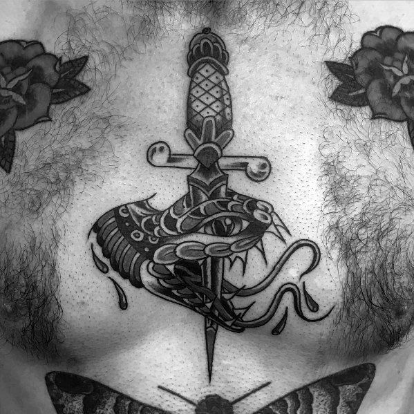 Mens Snake Dagger Tattoo Designs
