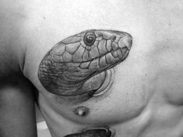 Mens Snake Head 3d Upper Chest Shaded Black And Grey Tattoo Design