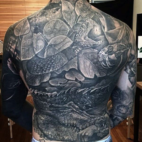Mens Snake With Alligator Badass Shaded Back Tattoos