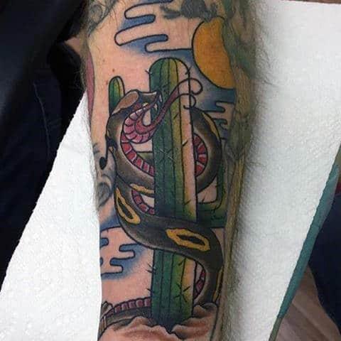 Mens Snake Wrapped Around Cactus Tattoo On Forearm