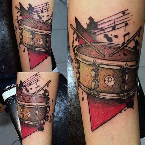 Mens Snare Drum Tattoo Watercolor Design On Forearm