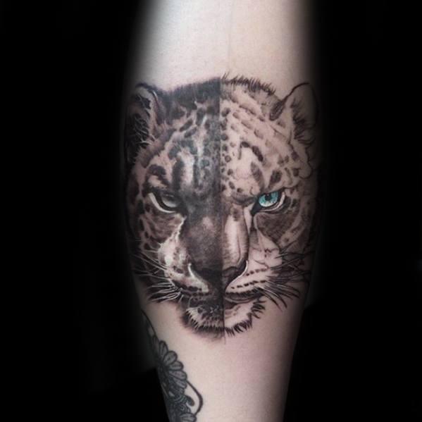 Mens Snow Leopard Tattoo Design Inspiration