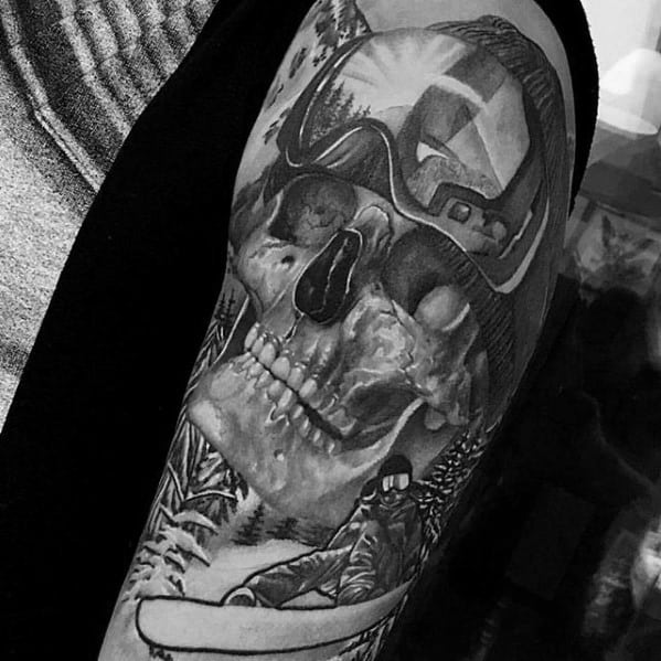 Mens Snowboarding Themed Skull Realistic Half Sleeve Tattoo