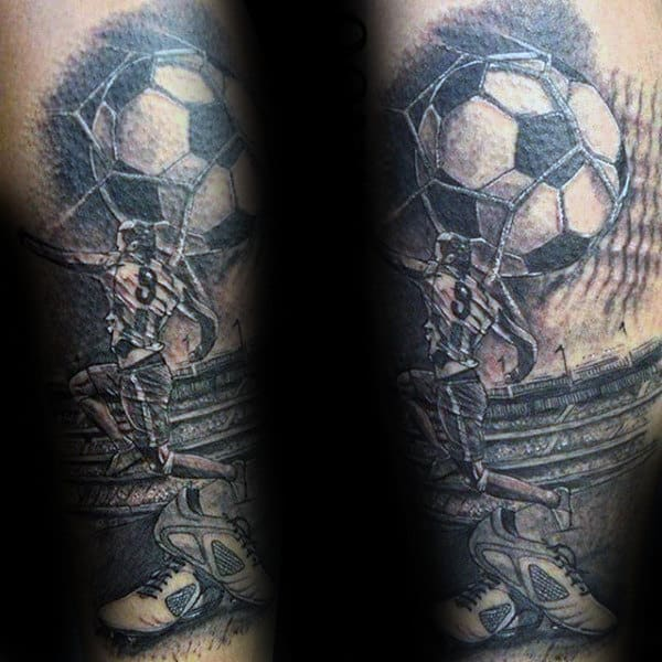Mens Soccer Themed Half Sleeve Tattoo Design Ideas