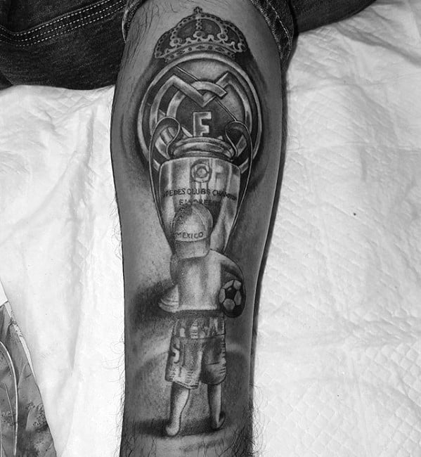 Mens Soccer Themed Leg Creative Real Madrid Tattoos For Men